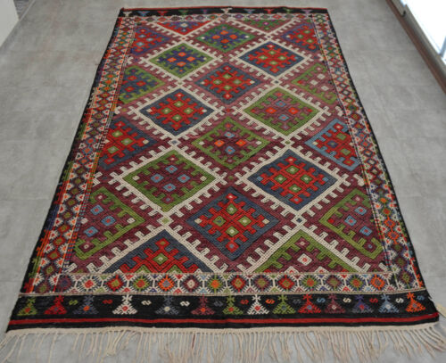 "Antique Turkish Kilim Rug Hand Woven Wool Braided Rug 72"" x 124"" RARE"