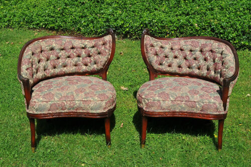1930s MIRRORED FIRESIDE CHAIRS MAHOGANY with TAPESTRY BUTTON TUFTED UPHOLSTERY!