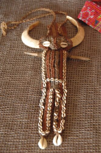 Old Papua New Guinea Woven Bush Twine & Shell / Pig Ceremonial Necklace
