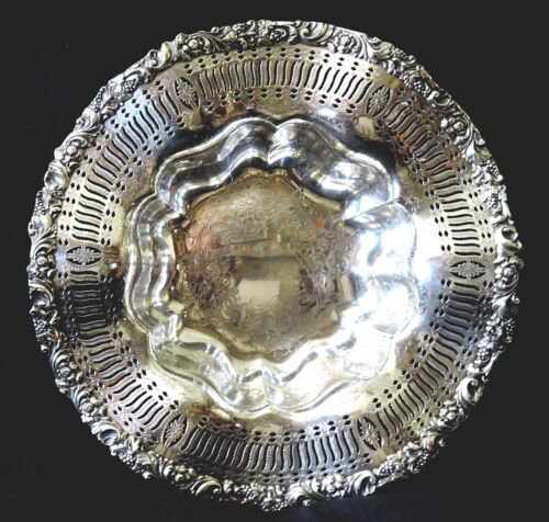 "Centerpiece BOWL, silverplate, EG Webster & Son, EGW&S, Rococo, 13""d, c1930"