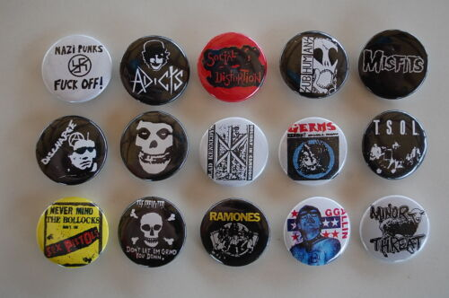 Punk Rock Buttons Pins Classic 80s 90s Music 1 Inch Size Lot of 15 (LSB4)