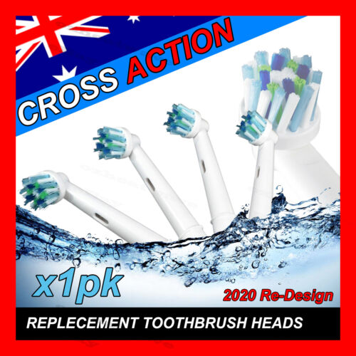 CROSS ACTION Oral B Compatible Electric Toothbrush Replacement Brush Heads x4 <br/> over 2300 happy customers supports this item