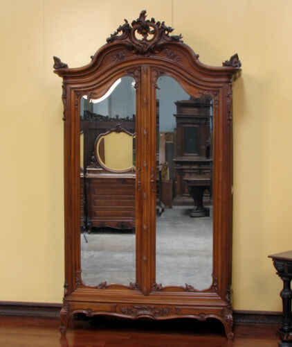 11671-1 : Large Antique French Louis XV Style 2 Door Armoire Wardrobe Cabinet