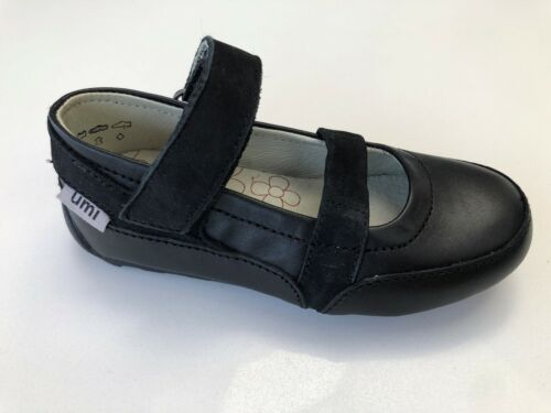 Umi Verve Girls Black Leather Pump Style School Shoes Various Sizes