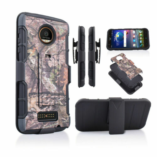 For Motorola Moto Z Force Droid Slim Rugged Holster Protection Case Cover Black