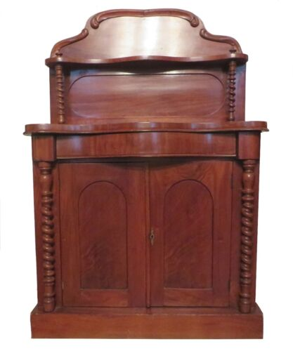 Antique 1800s English Mahogany Regency William IV Server Chiffonier Cabinet