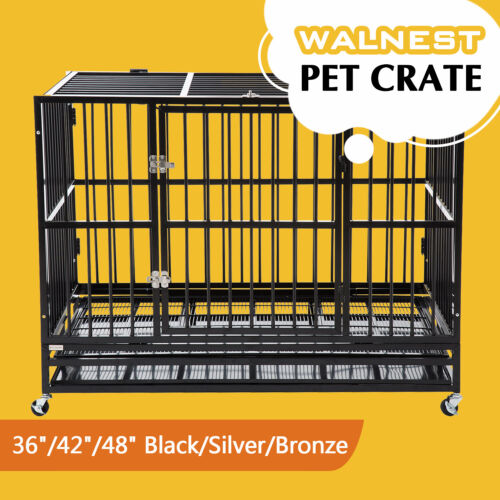 """37""""/42""""/48"""" Heavy Duty Large  Dog Crate Kennel Pet Cage House w/ Tray Wheels <br/> W/ Crate&Pan ✔ 1 Year Warranty✔ Collapsible✔"""