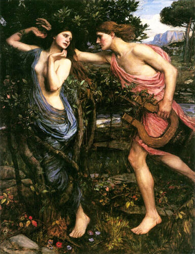 Apollo and Daphne   by John William Waterhouse  Giclee Canvas Print Repro