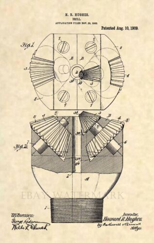 Official Howard Hughes Drill Bit Patent Art Print- Texas Antique Oil Tricone 408
