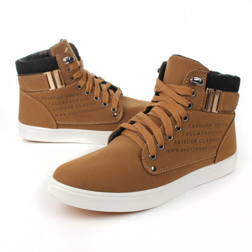 Fashion Mens Oxfords Casual High Top Shoes Leather Shoes Canvas Sneakers New