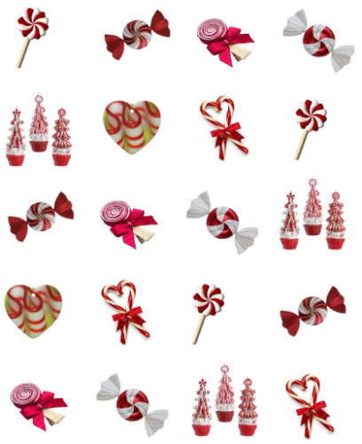 Peppermint Candies Waterslide Nail Decals/Nail art