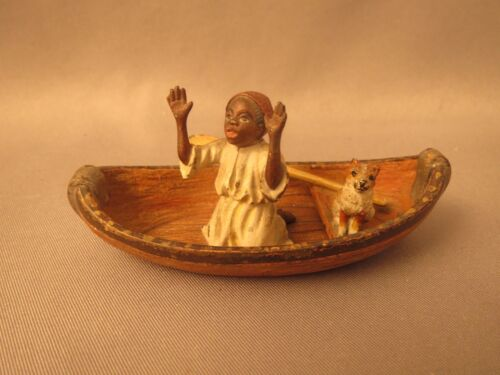 Vintage Vienna Bronze,  young Arab boy praying in a boat with his dog