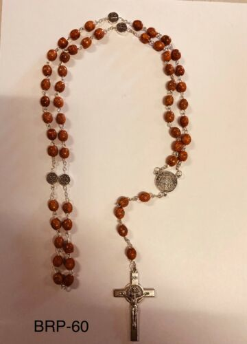 Wooden Rosary Beads  with St Benedict's Crucifix in Gift Box