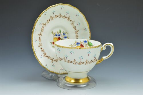 Tuscan Fine English Bone China Cup and Saucer Set Gold Detail Floral