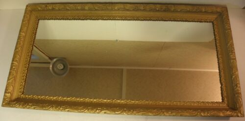 "Large Vintage Gesso Trimmed Mirror Antique Gold 45"" Tall 00301010"
