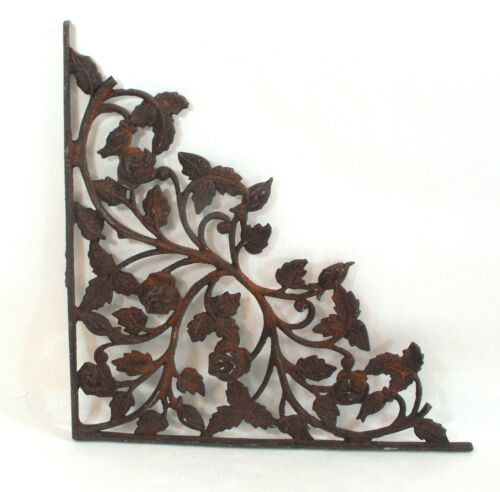 Vintage Wrought Iron Corbel Shelf Bracket Roses and Leaves Architectual Decor