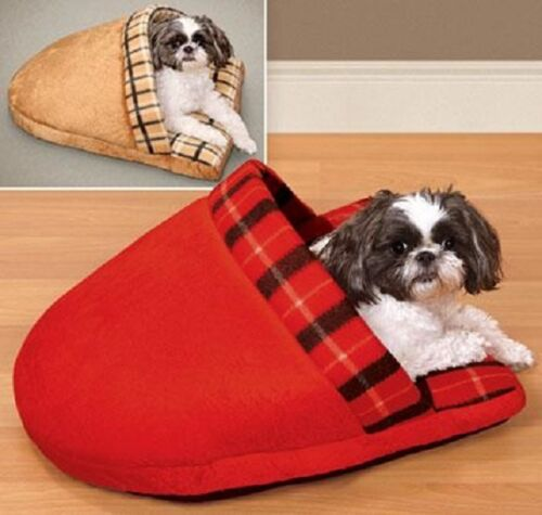 Slipper Dog Cat Bed Plaid Pet Snuggle Soft Warm Sleeping For Small Dog Cat Puppy
