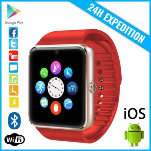 Original New GT08 Smart Watch Montre Facebook Bluetooth SIM Slot Android iOS Red