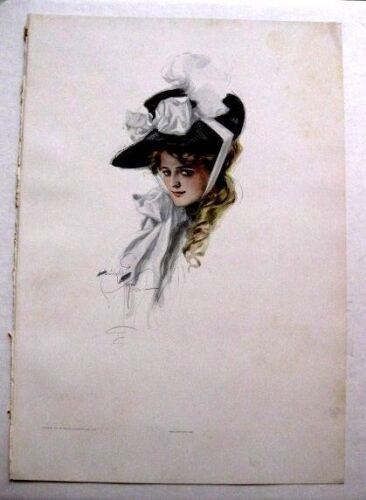 1906 Harrison Fisher Victoian Woman w/ Big Hat Bewitching Eyes 12 x 17