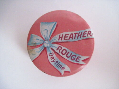 "Vintage Art Deco Era ""Heather Rouge Daytime"" Tin w/ Blue Bow & Pink Background *"