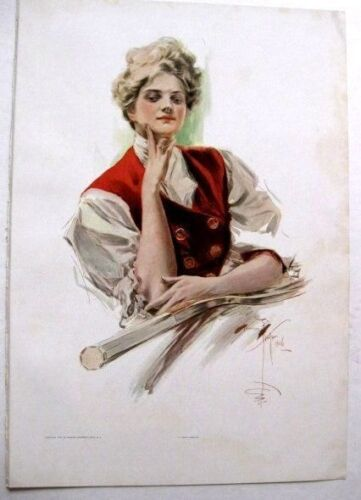 Real  Vintage1907 Harrison Fisher Victorian Woman Picture Tennis Champion 12x17