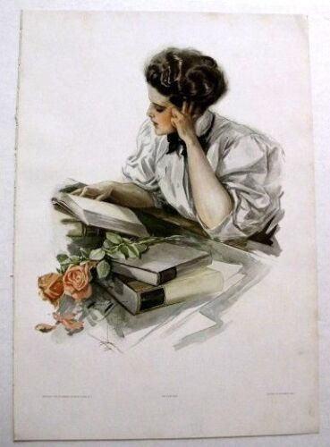 Real Vintage 1909 Harrison Fisher Victorian Woman Picture Study Hour 12 x 17