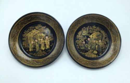 Pair of 2 Antique Chinese Black Lacquer Plate Dishes