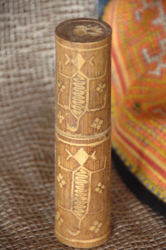 Old Timor Bamboo Betel Nut Container …beautiful detailed carving