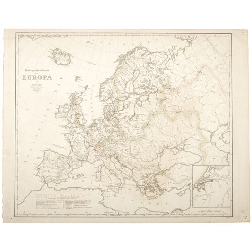 Map of Europe from 1833 by NH Tuxen of Copenhagen