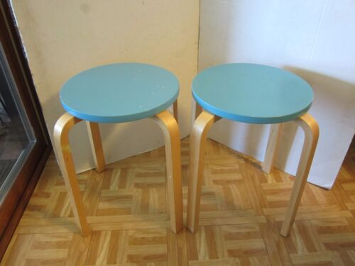Lithuania 2 Stacking Bentwood 4 legs Turquoise Round Stool Wood Post 1950 Retro