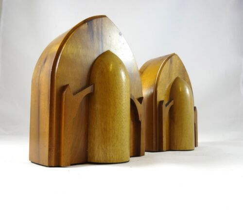 60S SPACE AGE VINTAGE DESIGN BOOKENDS ROCKET WOOD HAND MADE BY HOMER M. CHILDS