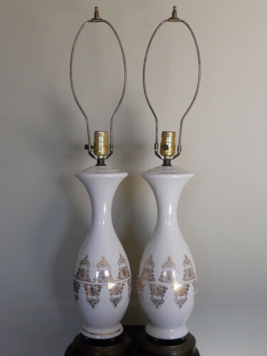 Pair of Antique White Glass Electric Lamps with Hand Painted Gold Design