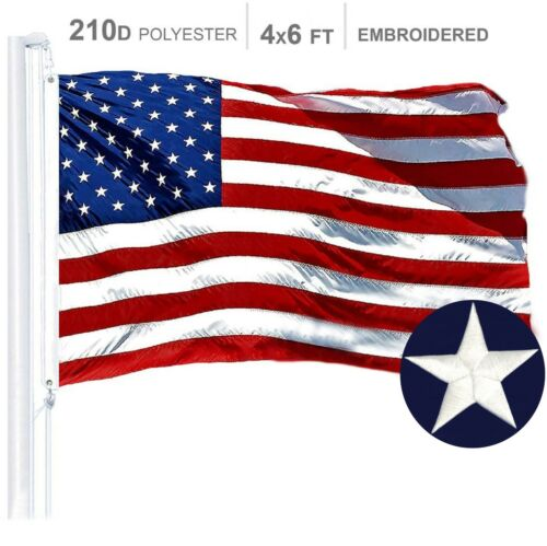 4'x6' FT American Flag USA US U.S. Embroidered Stars Sewn Stripes Brass Grommets