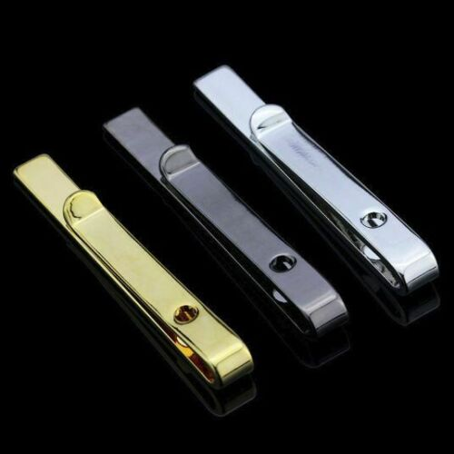 TIE CLIP Mens Boys Stainless Steel Clasp Bar Wedding Neck Rose Silver Black Gold