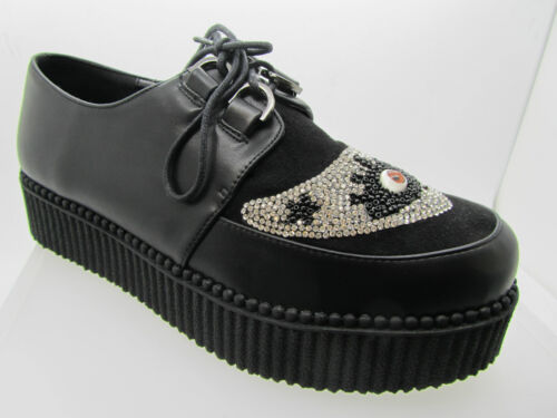 Banned Shoes Ladies Creeper  Black Shoes Glitter Third Eye Vegan Goth Punk