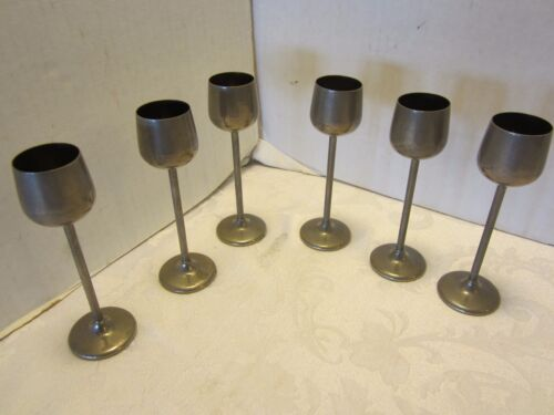 "SILVER BRASS CORDIALS MINI GOBLETS CHALICE SET 6 LIQUOR LONG STEM 1950's 4.75"" T"