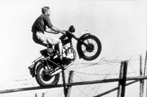 STEVE MCQUEEN THE GREAT ESCAPE ON BIKE POSTER PRINT 24x36 B&W 9 MIL PAPER