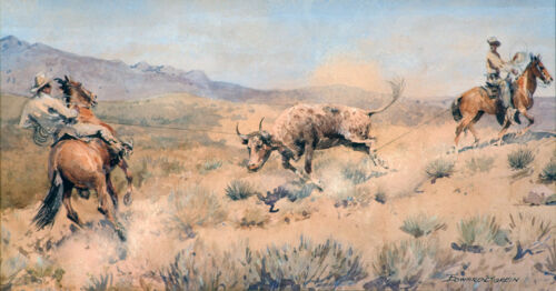 Team Roping  by Edward Borein  Giclee Canvas Print Repro