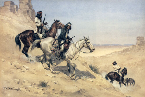 Apache Scouts Trailing  by Herman W Hansen   Giclee Canvas Print Repro