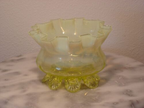 English Stuart & Sons Art Glass Vaseline Opalescent Footed Rose Bowl
