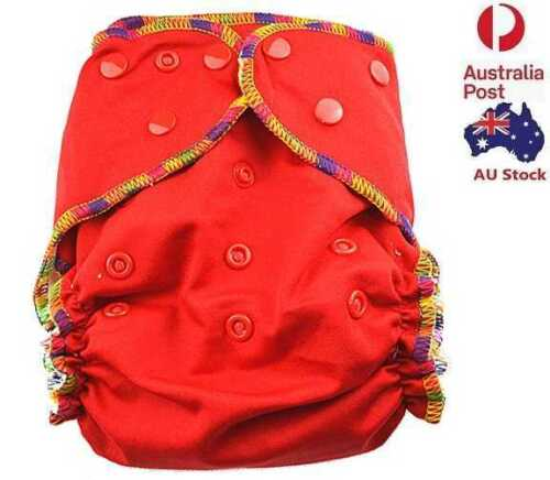 Red Solid Colour Cloth Nappy Top Quality Modern Cloth Nappies With Free Liners
