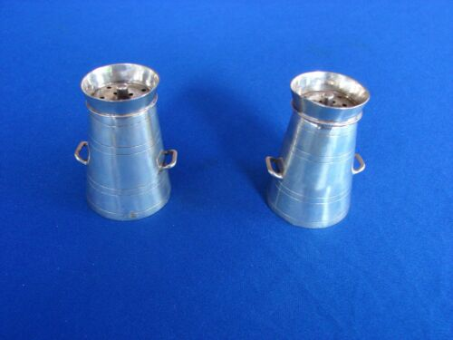 VICTORIAN STERLING NOVELTY MILK CHURN SALT PEPPER SHAKERS POT 1904 CHESTER