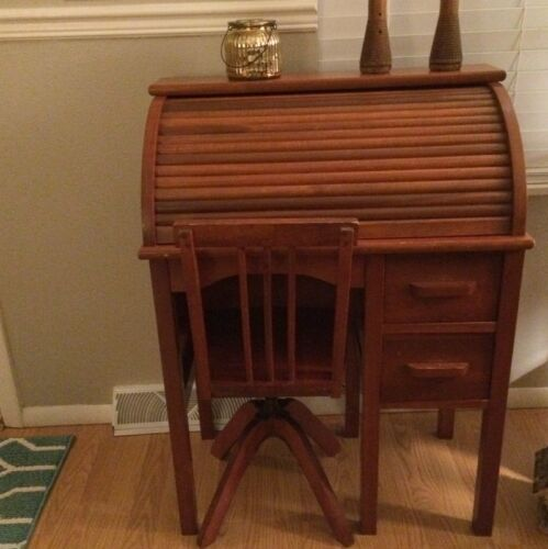 Antique Child's Roll Top Desk and Swivel Chair 1920's Paris?