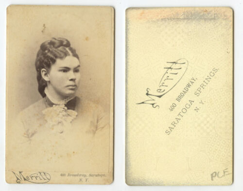CDV STUDIO PORTRAIT YOUNG LADY FROM SARATOGA SPRINGS, NEW YORK, BY MERRITT