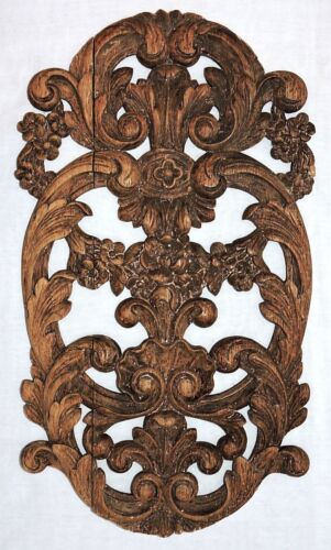 """Part- c1900 antique oak CARVING, PANEL, French, carved floral drape, shell, 17""""t"""