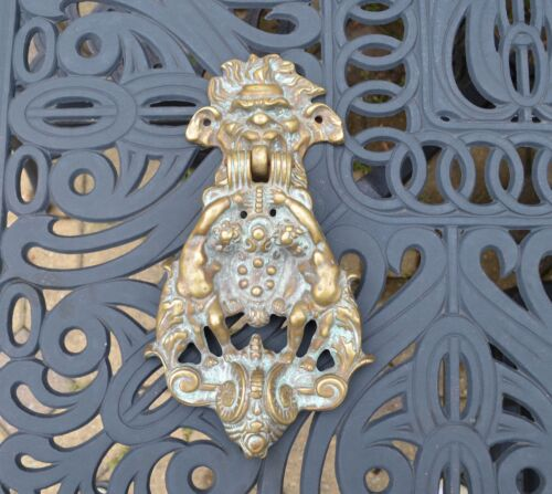 Victorian Bronze Door Knocker, Cherubs Lions Heads Ornate