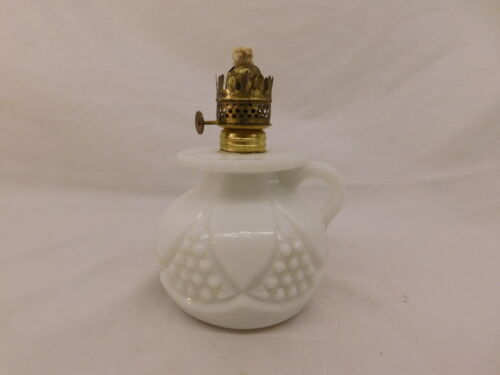WHITE MILK GLASS FINGER LAMP ANTIQUE THE P&A.M.F.C CO ADORN HAND BLOWN PONTIL