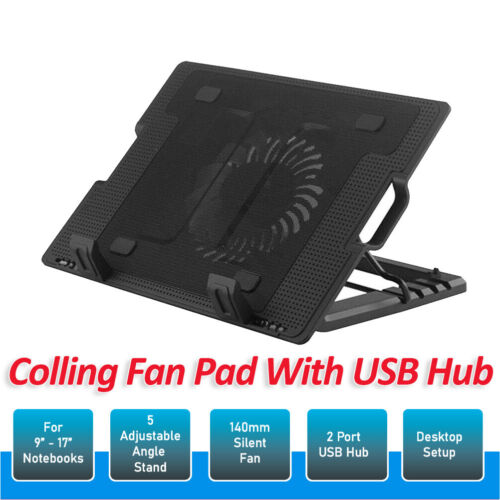 Laptop Cooling Fan Notebook Cooler Stand USB Fan Pad with USB Hub AU Stock