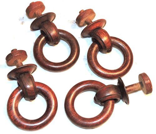 "Part – c1870 Renaissance Victorian drop-ring pull, four, solid rosewood, 3"" ring"