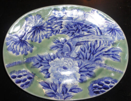 Japanese Platter Late Edo Period w/ Chinese Markings Blue White Celedon 19th C